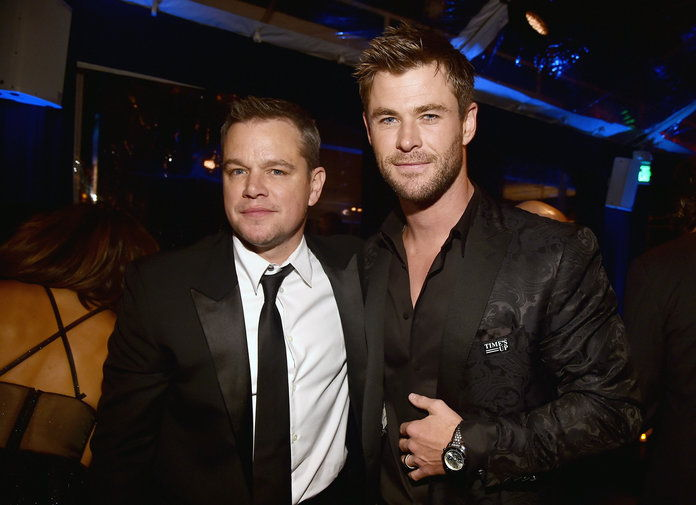 مات Damon and Chris Hemsworth