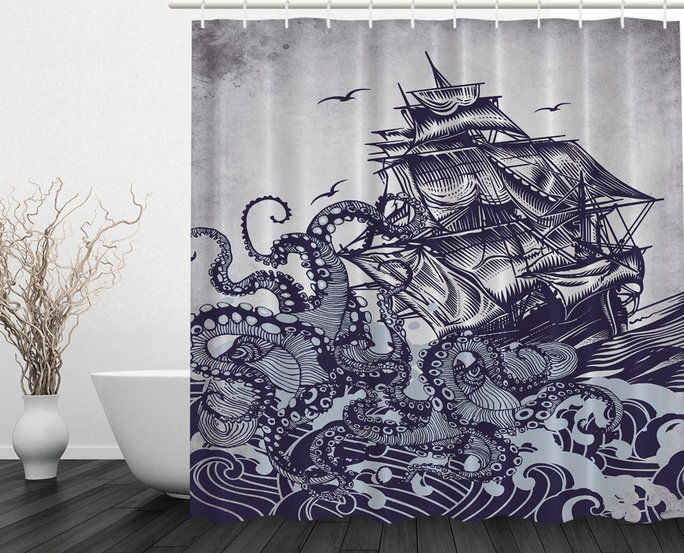 Оцтопус illustrated shower curtain