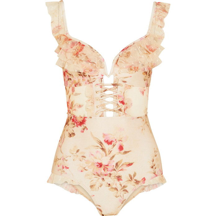 قرصان Ruffled Foral-Print Swimsuit