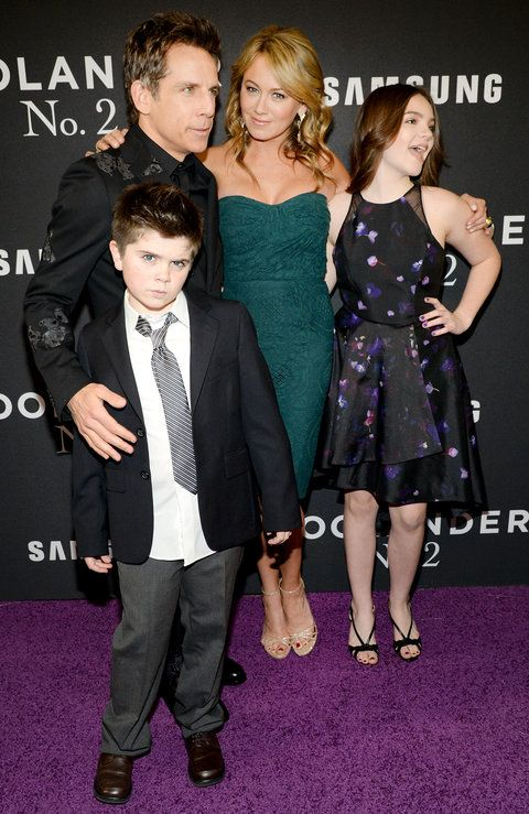Quinlin Stiller, Ben Stiller, Christine Taylor and Ella Stiller attend the 'Zoolander 2' World Premiere at Alice Tully Hall on February 9, 2016 in New York City.