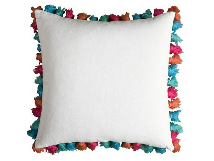 За the Colorful Personality: Rizzy Home Frayed Pom Pom Pillow