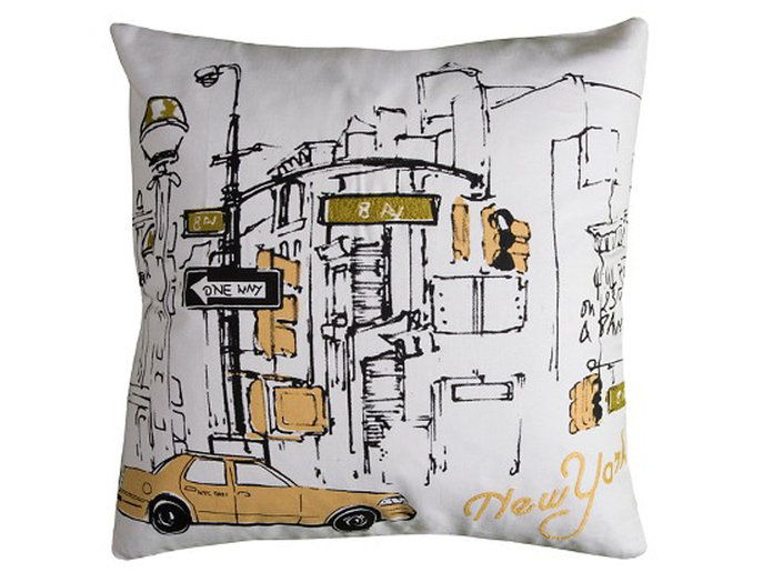 За the City Girl: Rizzy Home New York Taxi Pillow