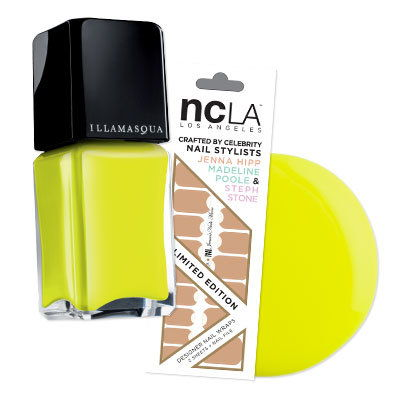 НЦЛА's Nude Moon Nail Wraps with Illamasqua's day-glo Rare shade