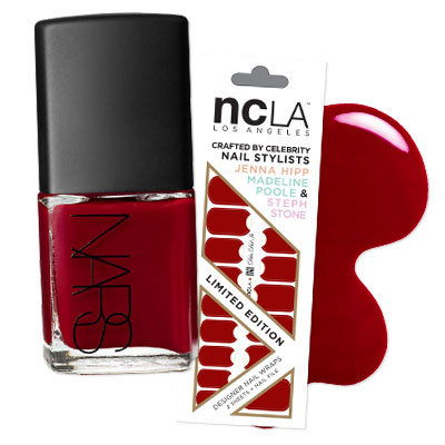 Покушати a moon manicure with NCLA's Dita Did It and NARS' Jungle Red