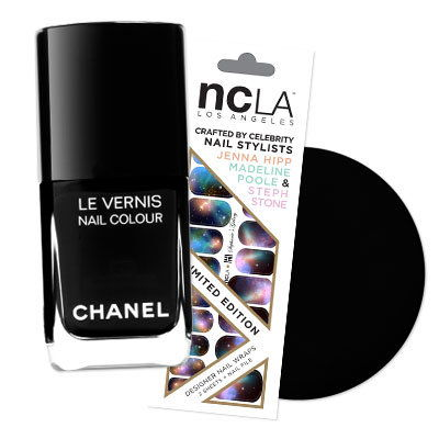 Степхание's Galaxy nail strips and Chanel Le Vernis Black Satin