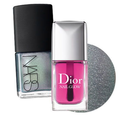 Холографски pedicure with Dior's Nail Glow and NARS' Disco Inferno