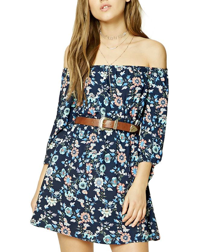 Баре your shoulders in an off-the-shoulder mini