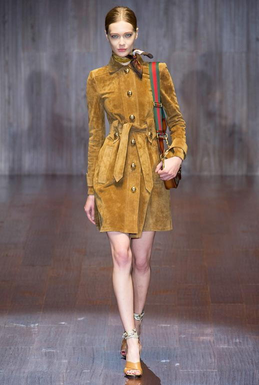 غوتشي SS15 Suede Shirtdress