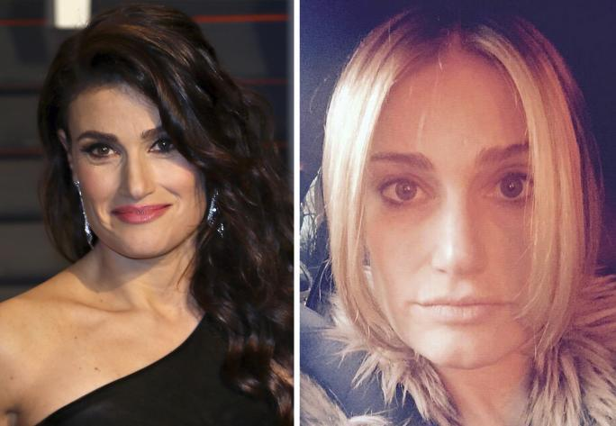 Идина Menzel at the Vanity Fair 2015 Oscar Party (L); Idina Menzel goes blonde (R)