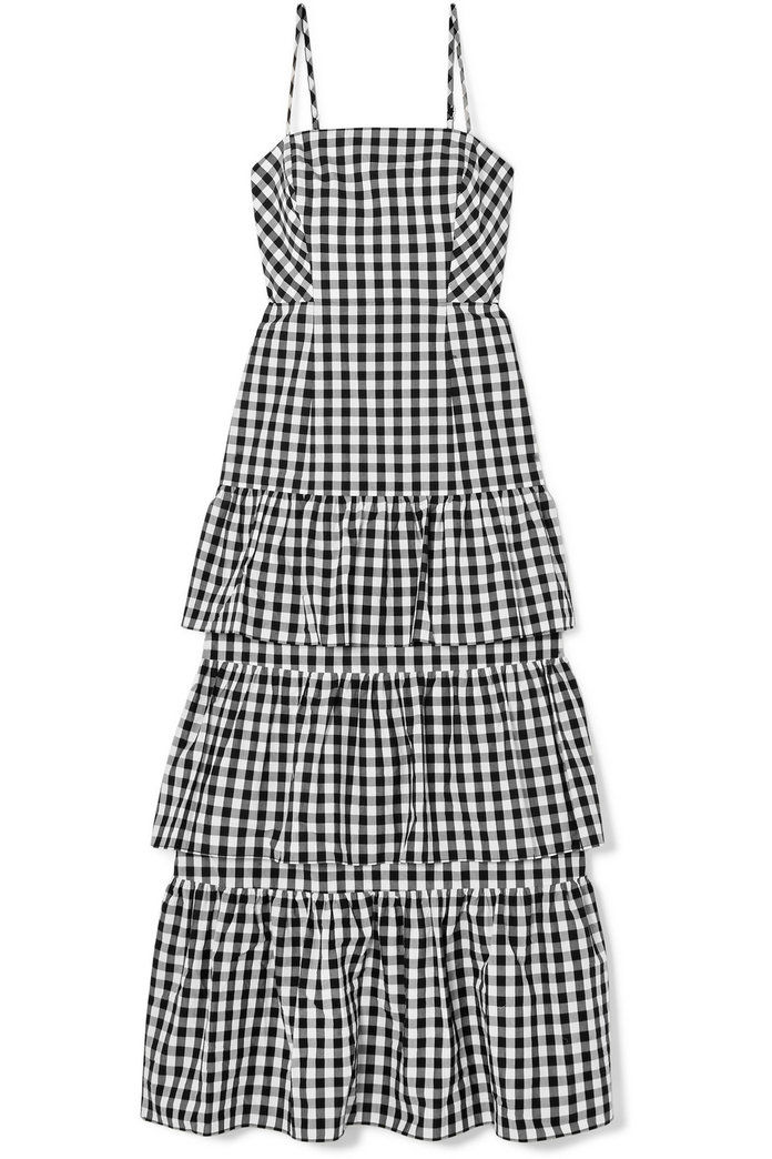 Даббле tiered gingham cotton-poplin midi dress