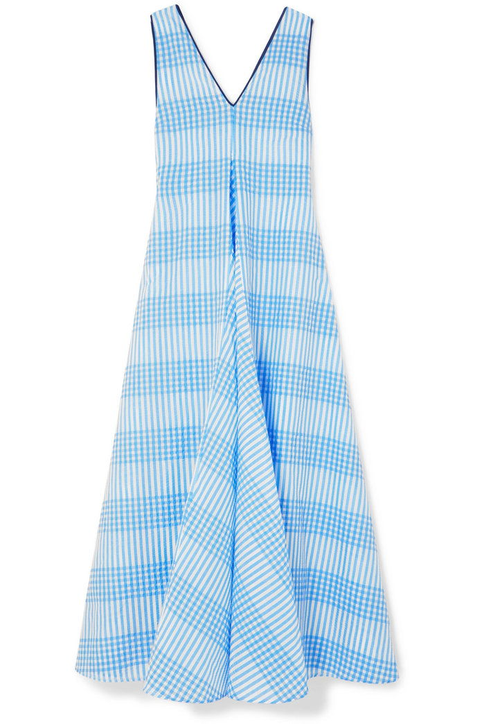 Цхаррон checked cotton-blend seersucker maxi dress