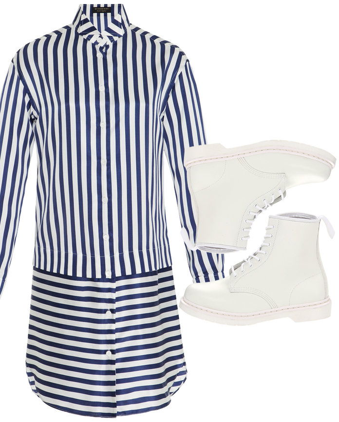 يرمي off your preppy stripes with combat boots.