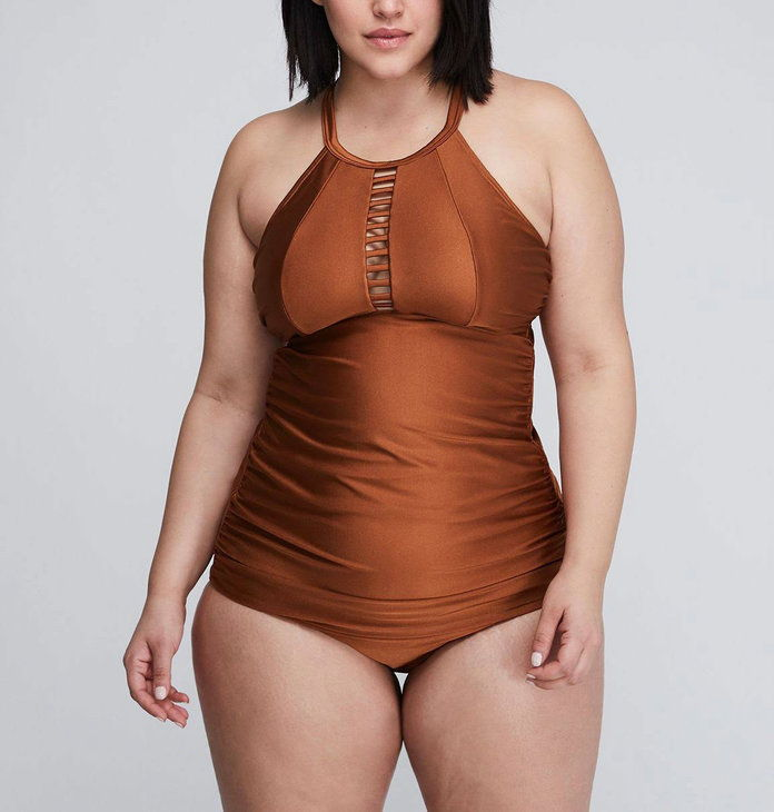 Лане Bryant Shimmer Strappy High-Neck Swim Tank and Bottoms