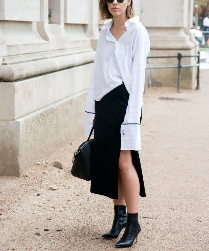 Са a Menswear-Inspired Shirt and Ankle Boots