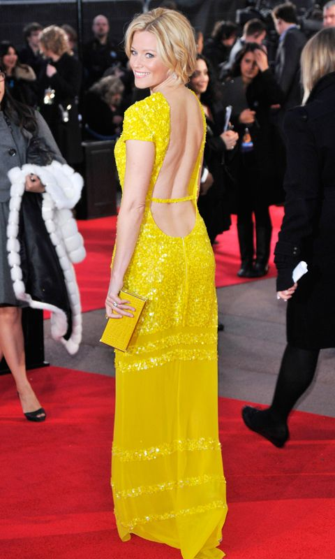 إليزابيث Banks yellow Hunger Games premiere dress