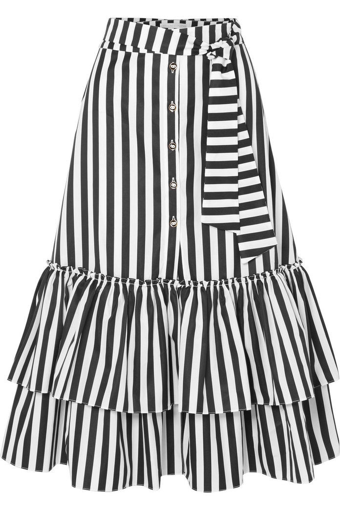 تكدرت Striped Cotton-Poplin Midi Skirt