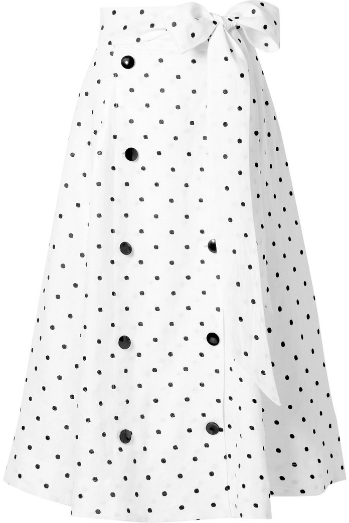 ديانا Embroidered Polka-Dot Linen Midi Skirt