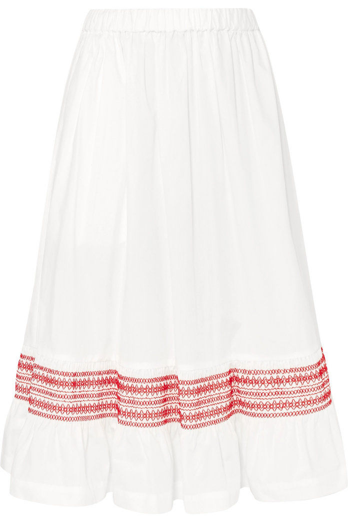 Shirred Cotton-Poplin Midi Skirt