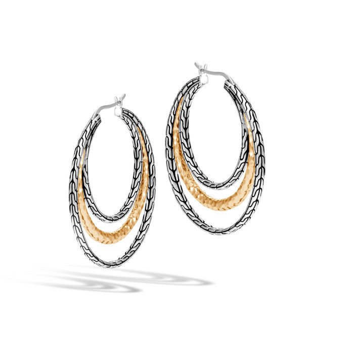 Цлассиц Chain Hammered Medium Hoop Earring