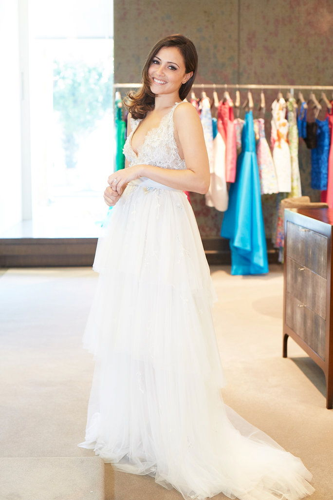 "Моникуе Lhuillier ""Coralie"" gown with ombre sash and layered Spanish tulle skirt, $7,855."