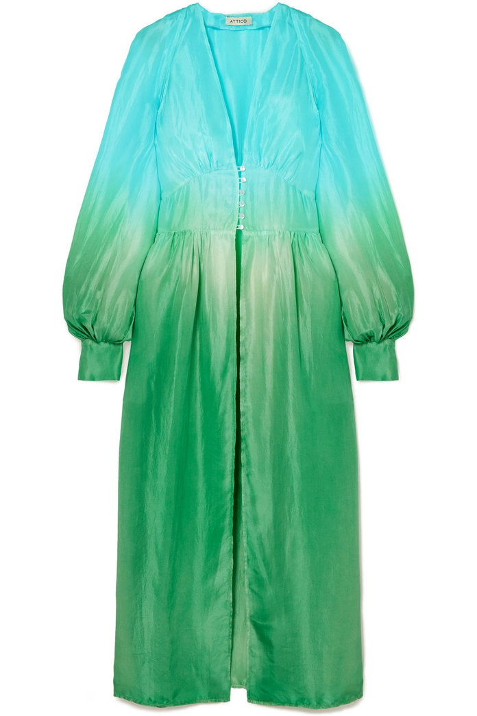 انقطع Ombré Silk-Habotai Midi Dress