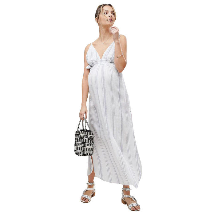 التوليد Natural Stripe Maxi Beach Dress