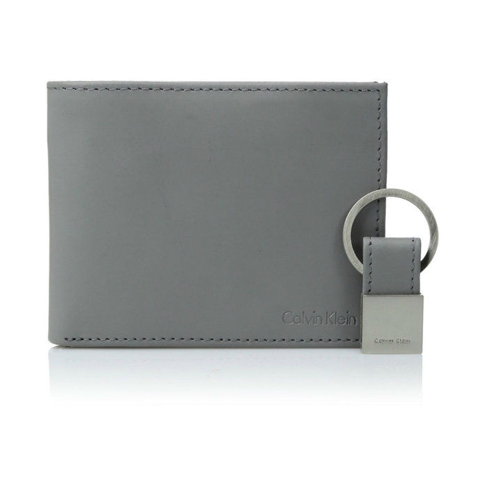 كالفين Klein Men's RFID Blocking Leather Bookfold Wallet With Key Fob