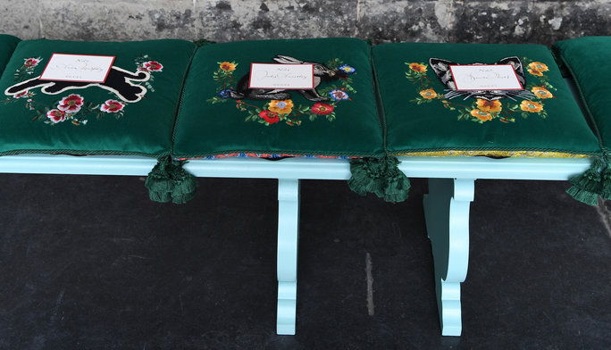 Тамо Were Embroidered Gucci Seat Cushions (That You Got to Take Home)