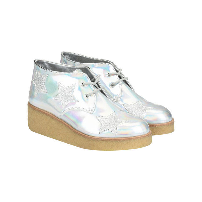 Стелла Mccartney Silver Glitter Wedge Boots