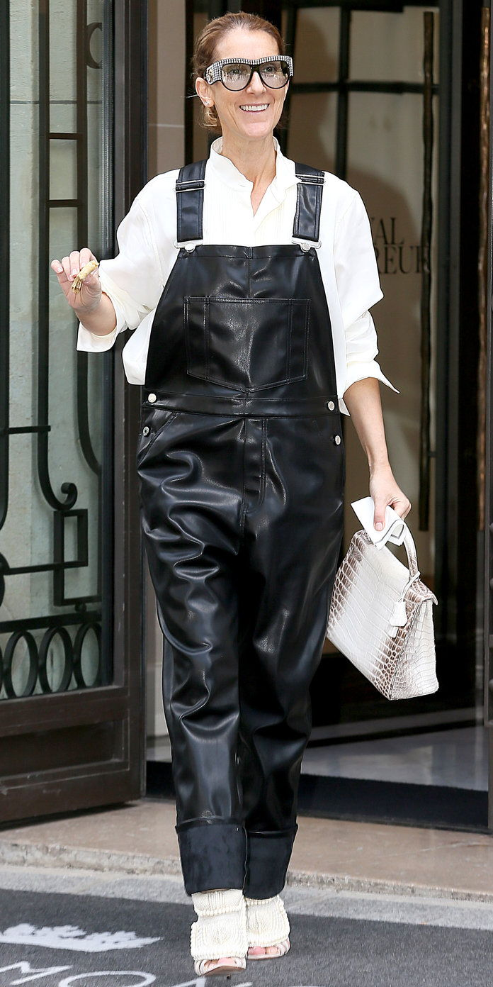 في BLACK LEATHER OVERALLS