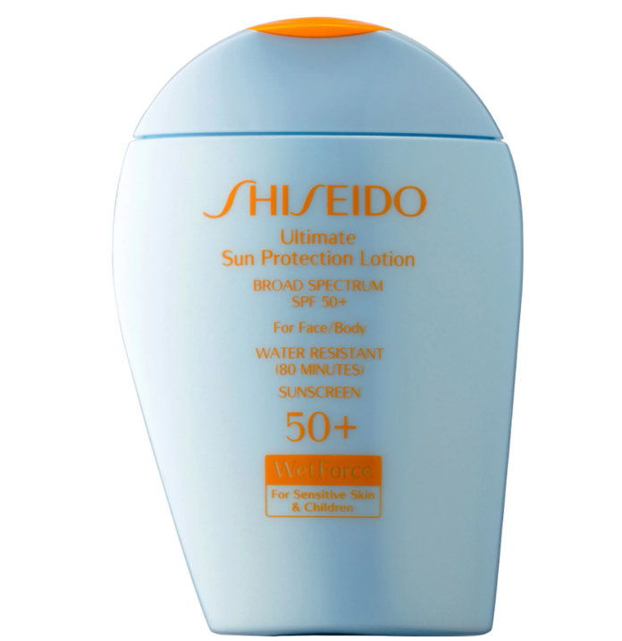 شيسيدو Ultimate Sun Protection Lotion Broad Spectrum SPF 50+ WetForce for Sensitive Skin & Children