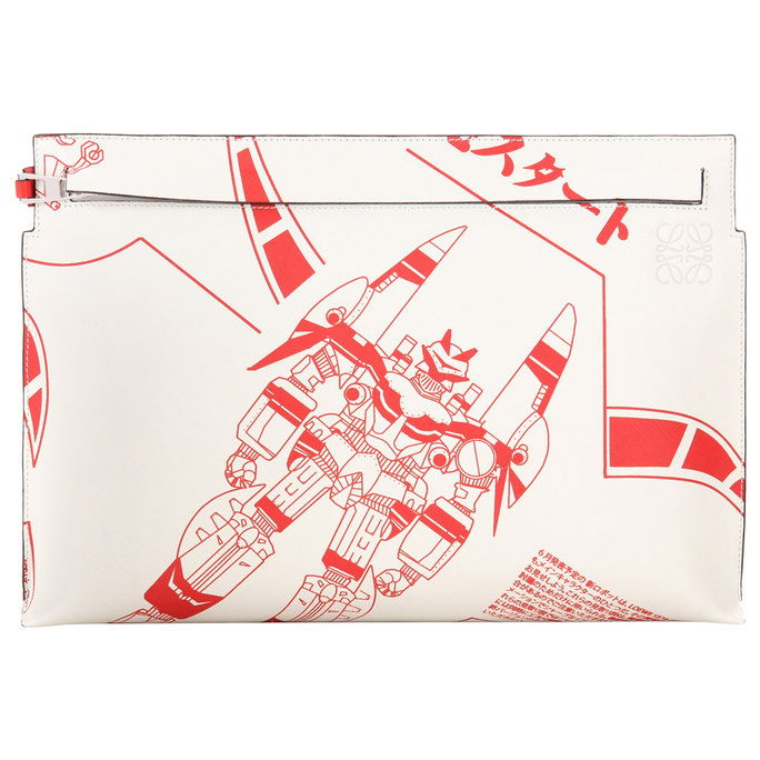 Лоеве T Pouch Printed Leather Clutch