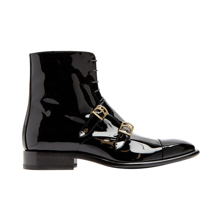 Монк-ремен patent-leather ankle boots