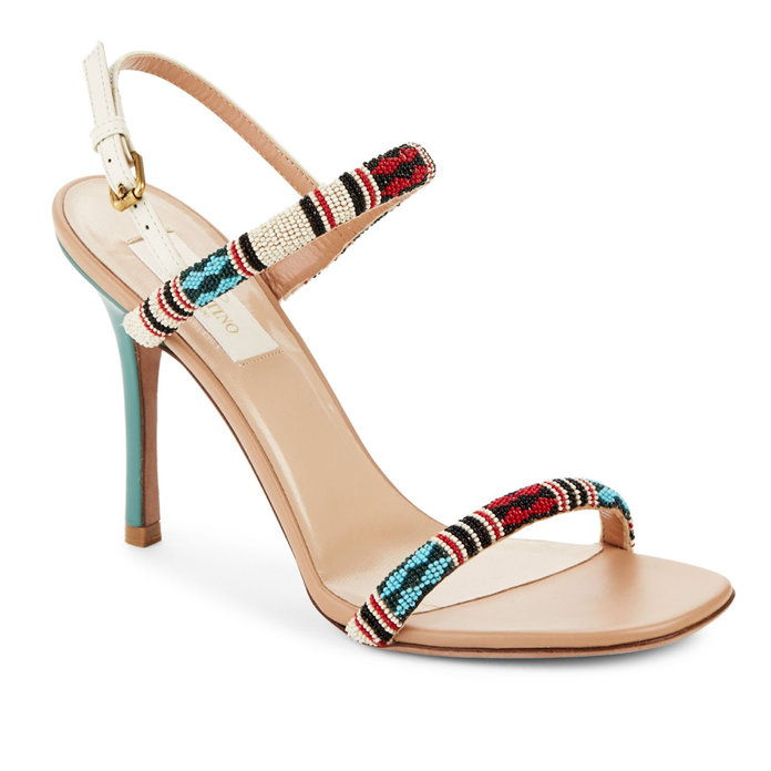 ВАЛЕНТИНО GARAVANI Beaded Open Toe Sandals
