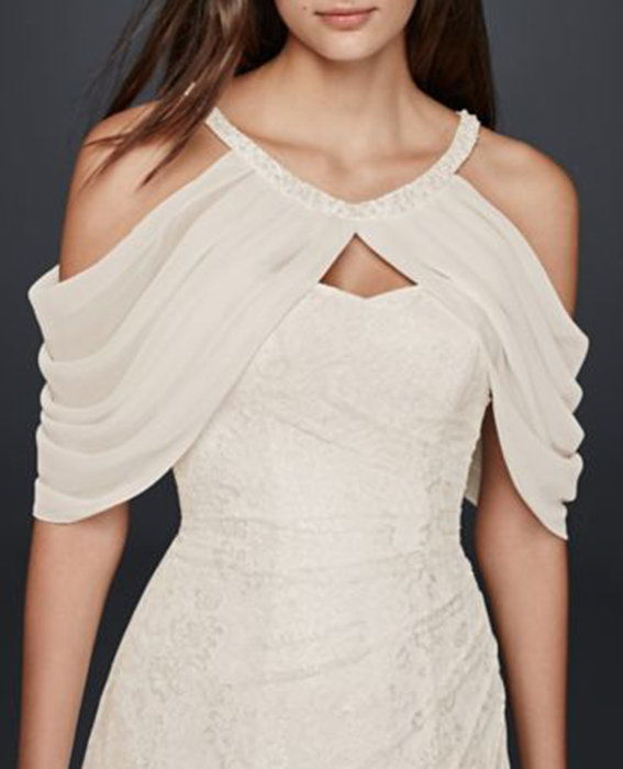ديفيد's Bridal Draped Chiffon Sleeve Topper