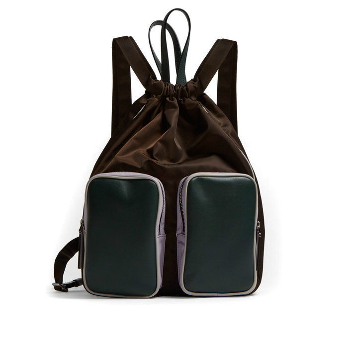LEATHER AND NYLON CARRYALL BACKPACK