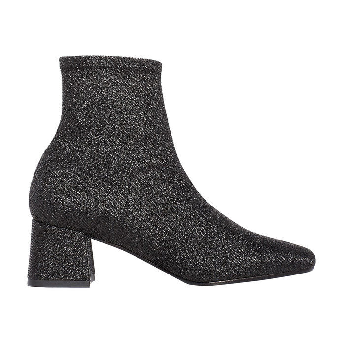 غيا Stretch Glitter Mid Heel Booties