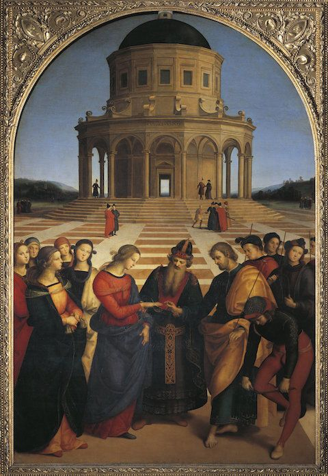 غير محددة - CIRCA 1987: Raffaello Sanzio (1483-1520), The Wedding of the Virgin. (Photo By DEA / G. NIMATALLAH/De Agostini/Getty Images)