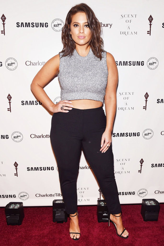 7. Ashley Graham's Cropped Top and Slim Trousers