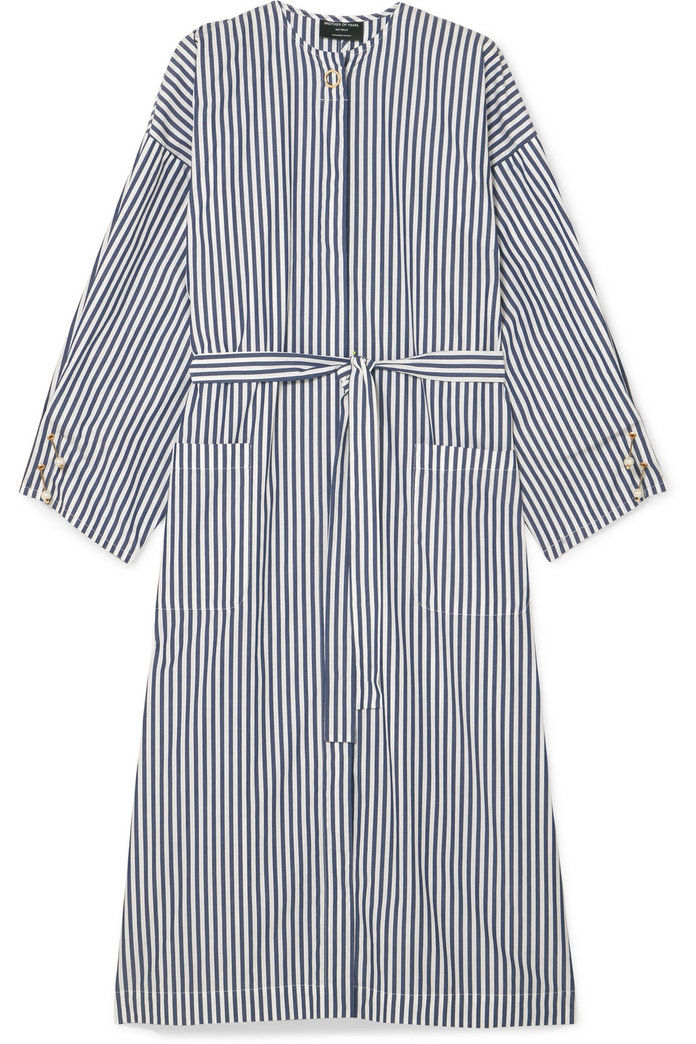 فو pearl-embellished striped organic cotton-poplin dress