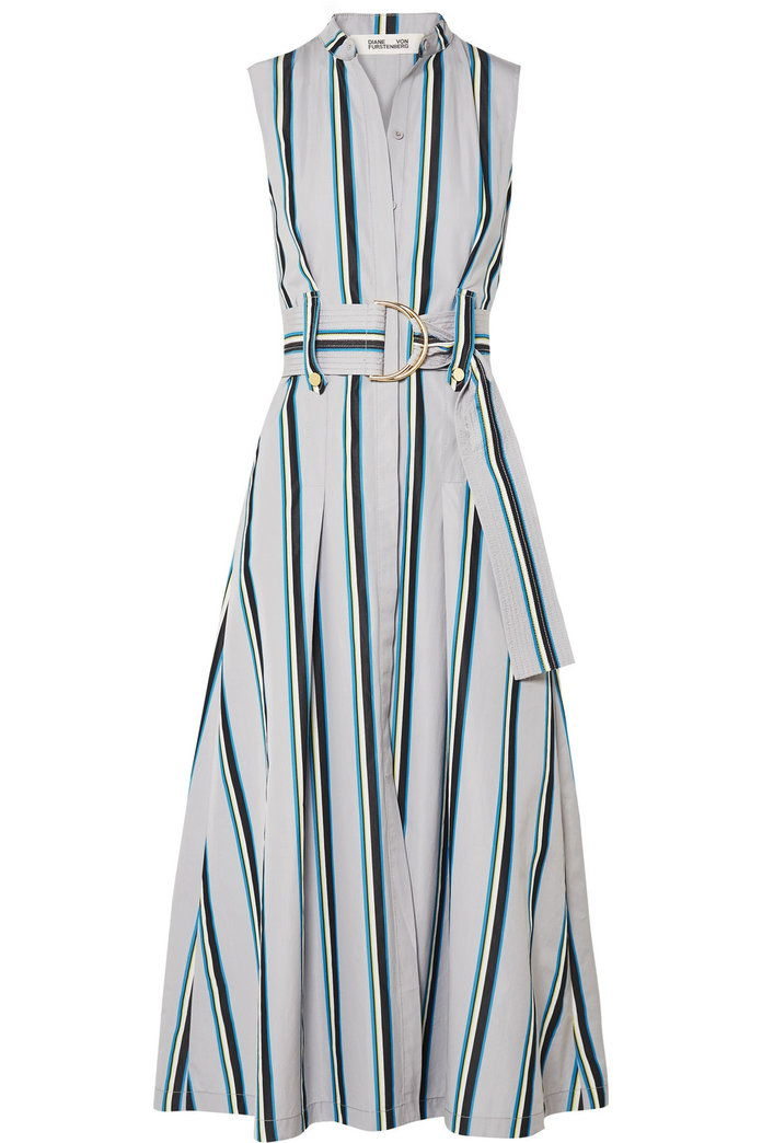 مربوط striped cotton midi dress