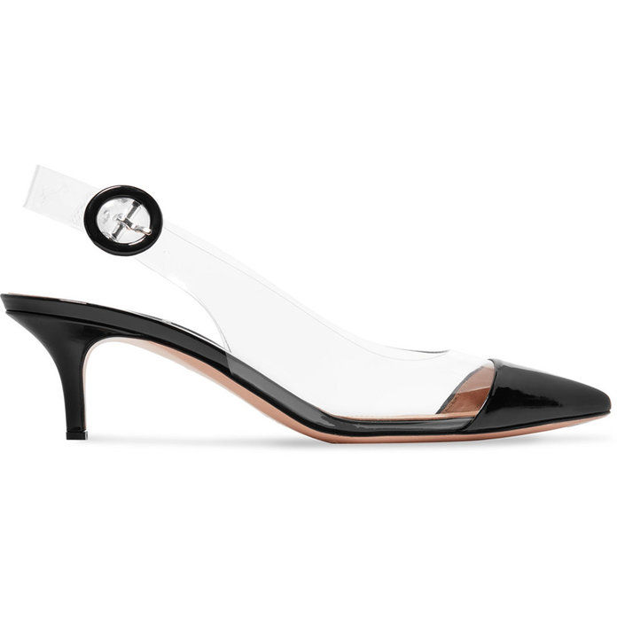 55 Patent-Leather and PVC Slingback Pumps