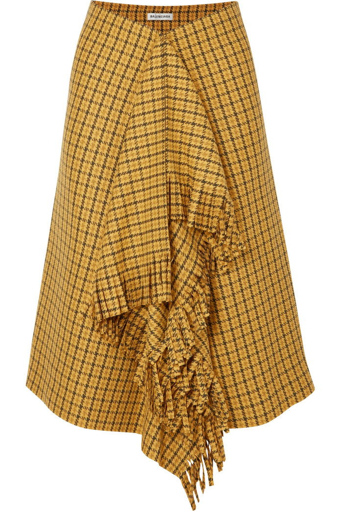 مهدب Checked Tweed Midi Skirt