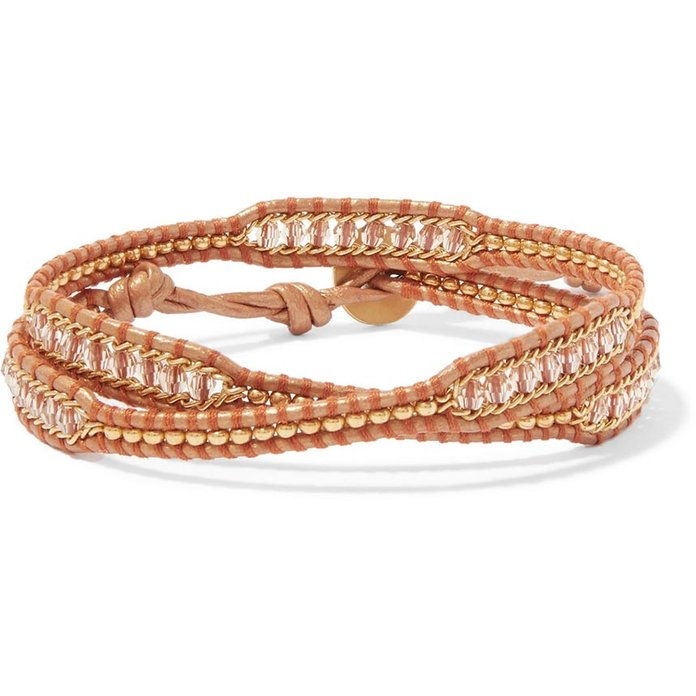 Леатх and Gold-Tone Beaded Wrap Bracelet