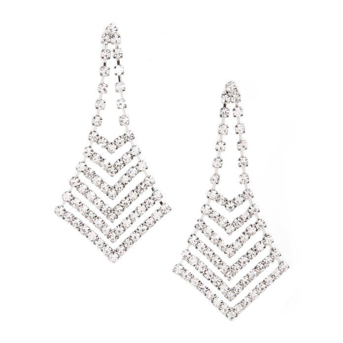 كريستال Chevron Chandelier Earrings