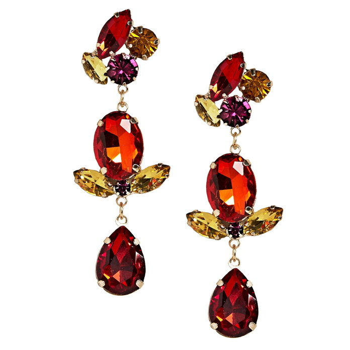 أحمر Triple Drop Gemstone Earrings