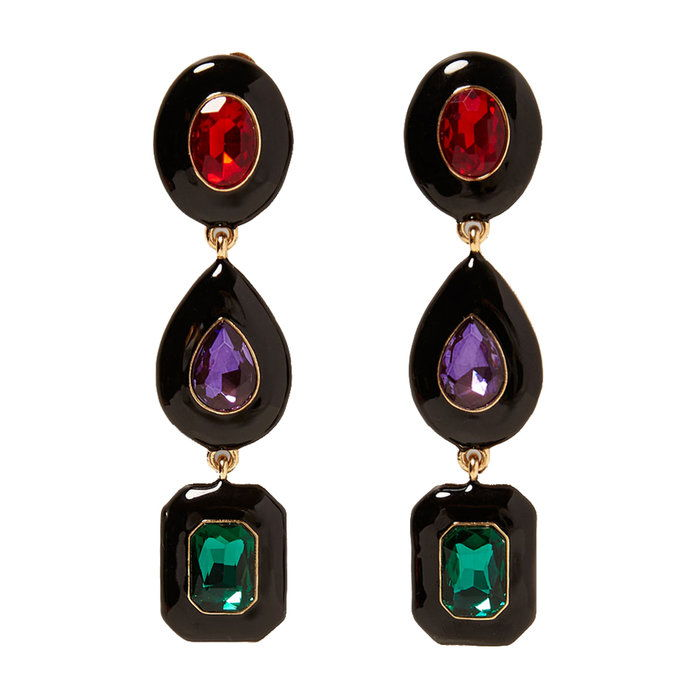 طويل Earrings With Colored Gems