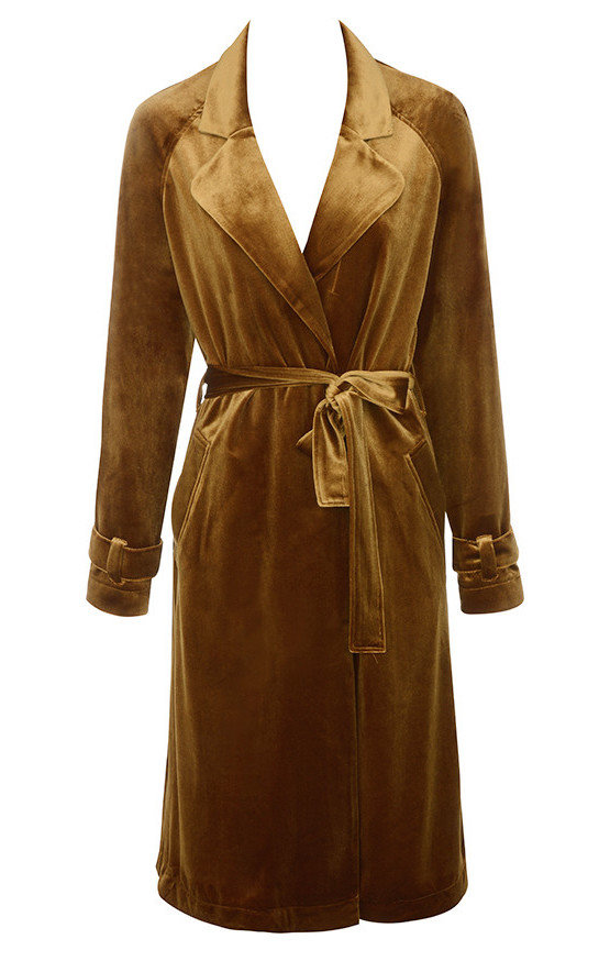 ا trenchcoat in the season's hottest textile, velvet, by House of CB