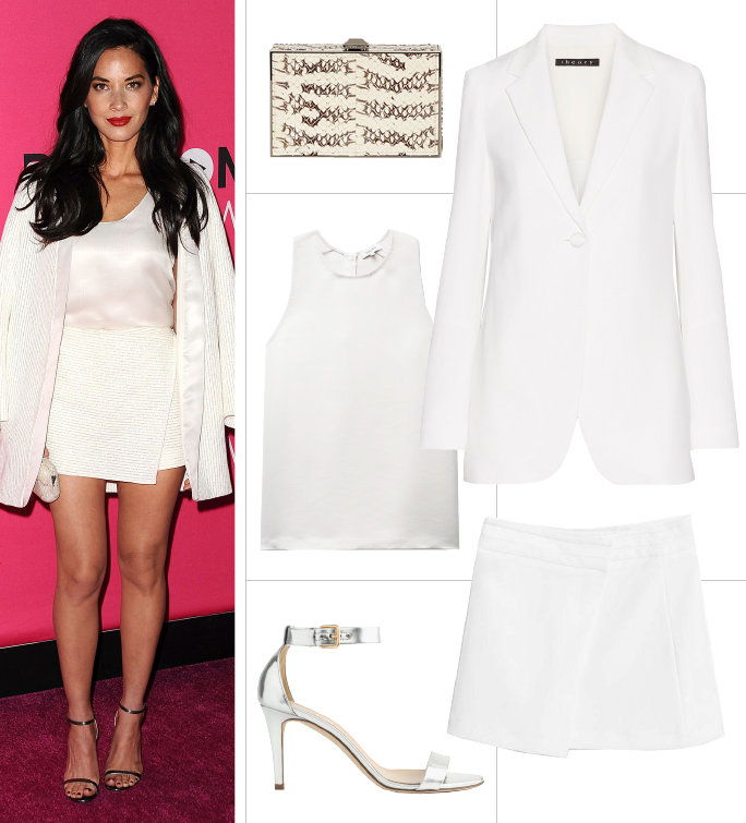 Оверсизе White Blazer + Satin White Tank + White Skirt