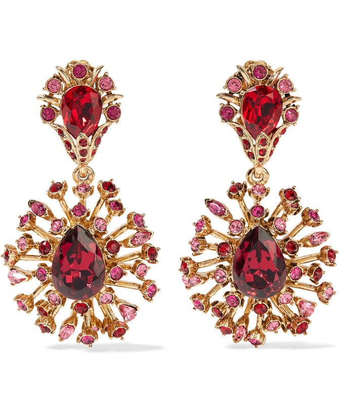 أوسكار de la Renta Gold-Plated Swarovski Crystal Clip Earrings